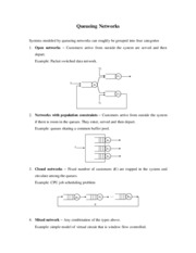 10.1 Queueing Networks - Notes