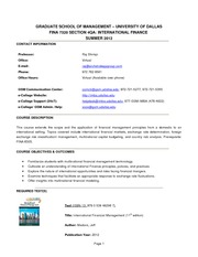 FINA 7320 - Section 4QA - Syllabus