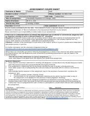 BusEco Assessment Cover Sheet