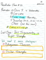 Pre-Calculus 11 Pythagorean Theorem Notes