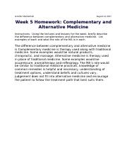 Week 5 Homework Complementary and Alternative Medicine.docx