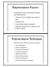 CHEM 570 Chapter 5 Polymerization Techniques
