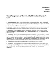 PH 2530 Unit 1 Assignment 1  The Scientific Method and Newton's Laws Steps