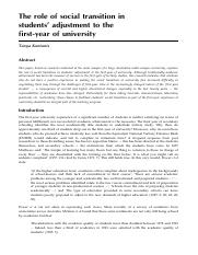 The role of social transition in students' adjustment ot the first-year of university_Kantanis.pdf