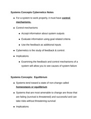 Systems Concepts Cybernetics Notes