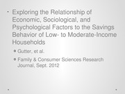 Lecture #12 - Gutter et al Savings Behavior in Low Income Households