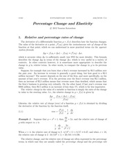 Chapter 6: Percentage Change and Elasticity