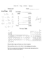 Exam 1 Fall 2011 Solution on Organic Chemistry 1 for Majors