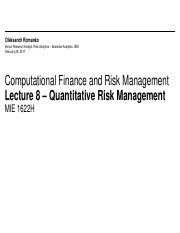 MIE1622H Lecture 8 - Quantitative Risk Management