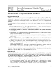 Lecture 4 - EECS 70 Discrete Mathematics and Probability