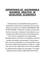 IMPORTANCE OF  SUSTAINABLE   BUSINESS  PRACTICE  IN DEVELOPED  ECONOMICS.docx