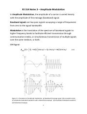 EE 314 Notes 3 - Amplitude Modulation