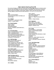 Study Guide for Final Exam Psych 260 2009-1