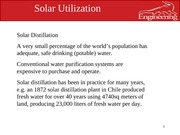 solar utlization lec 21 solar distilation