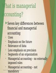 Chapter 1 Managerial accounting and cost concepts