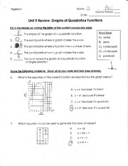 Homework on graphing quadratic functions