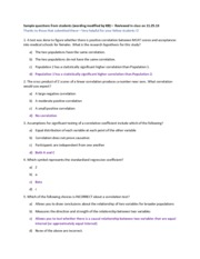 Sample Questions for Correlation and Regression (submitted by students)