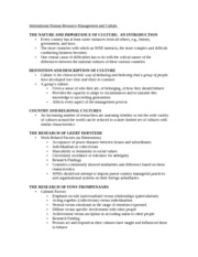 International Human Resource Management and Culture  Notes