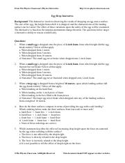 Egg Drop Interactive Worksheet - Physics Classroom