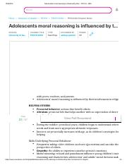 Adolescents moral reasoning is influenced by their - PSYCH - 2450