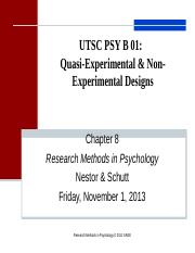 Lecture 8 Quasi and NonExperimental Designs