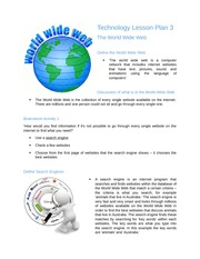 Technology Lesson Plan 3- The World Wide Web