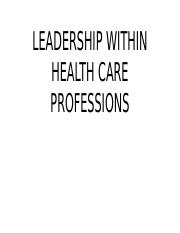 LEASDERSHIP WITHIN HEALTH CARE PROFESSIONS.pptx