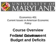 Overview, Federal Government Budget and Deficits