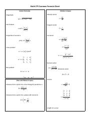 Math 275 Common Formula Sheet