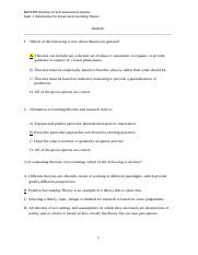 Topic 1 Self assessment quizzes Sol