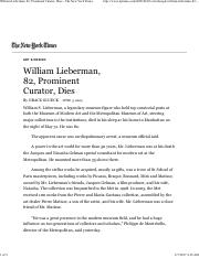 William Lieberman, 82, Prominent Curator, Dies - The New York Times