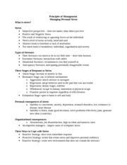 Principles of Management Personal Stress 1 Notes