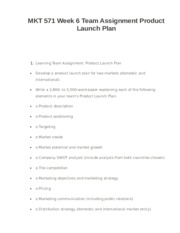 MKT 571 Week 6 Team Assignment Product Launch Plan