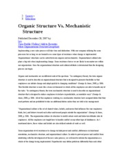 Organic vs Mechanistic