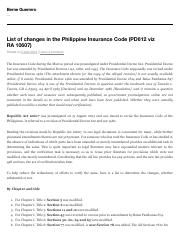 List of changes in the Philippine Insurance Code (PD612 viz RA 10607) | Berne Guerrero.pdf