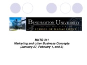 Lecture 2 Marketing and Other Business Concepts January 27 February 1 and 3