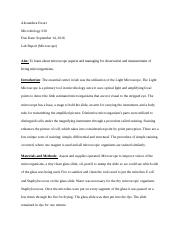 Microbiology 230 Lab 1 Report
