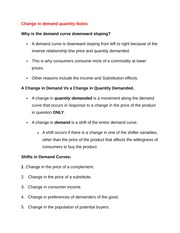 Change in demand quantity Notes