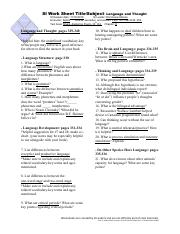 Dominique Mones Language and Thought SI Worksheet 11-16 Canvas