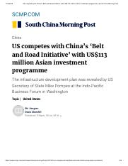 US competes with China's 'Belt and Road Initiative' with US$113 million Asian investment programme _