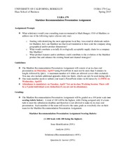 UGBA 179 International Consulting for SME's: Markhor Recommendation Presentation Assignment