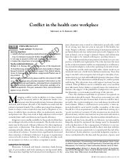 conflict in the health care workplace