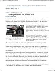US to impose tariff on Chinese tires