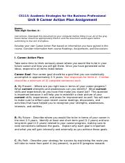 ACADEMIC STRATEGIES FOR THE BUSINESS PROFESSIONAL- UNIT 9-CAREER ACTION PLAN