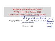 Lecture 10- Black Scholes Pricing Models