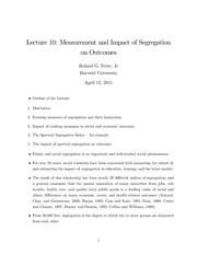 Lecture 10 Measurement and Impact of Segregation