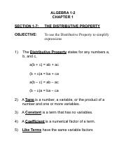 ALG 1-7 The Distributive Property