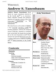 Andrew S Tanenbaum Wikipedia Pdf Andrew S Tanenbaum Wikipedia Andrew S Tanenbaum Andrew Stuart Tanenbaum Born Andy Tanenbaum Sometimes Referred To Course Hero