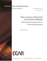 Learner-Centered Curriculum Model