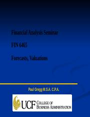 FIN6465 Class 8 Taxes Forecast Valuations